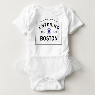 Boston Massachusetts Road Sign Baby Bodysuit