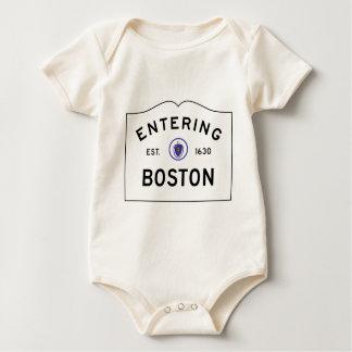 Boston Massachusetts Road Sign Baby Bodysuit