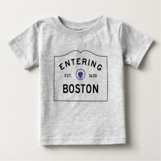 Boston Massachusetts Road Sign Baby T-Shirt