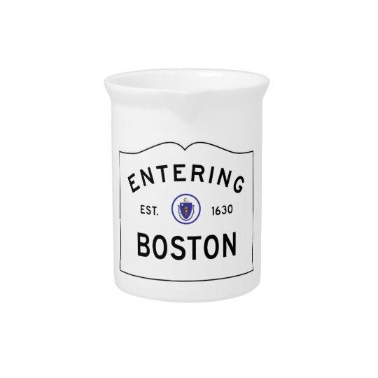 Boston Massachusetts Road Sign Pitcher