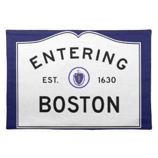 Boston Massachusetts Road Sign Placemat