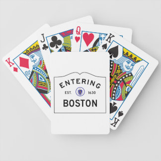 Boston Massachusetts Road Sign Playing Cards