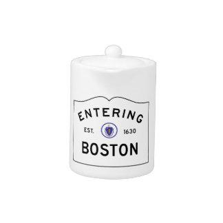 Boston Massachusetts Road Sign Teapot