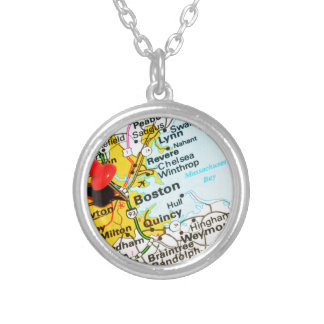 Boston, Massachusetts Silver Plated Necklace