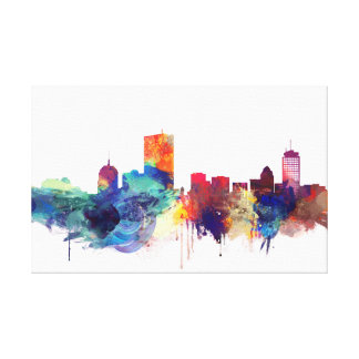 Boston, Massachusetts Watercolor Cityscape Canvas Print