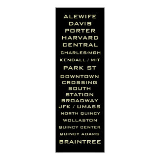 Boston Metro Subway Sign Art - Redline Poster