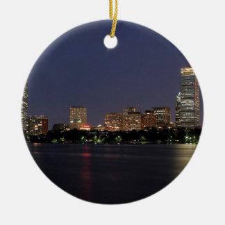 Boston Night Skyline Ceramic Ornament