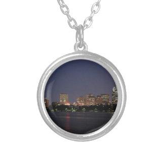 Boston Night Skyline Silver Plated Necklace