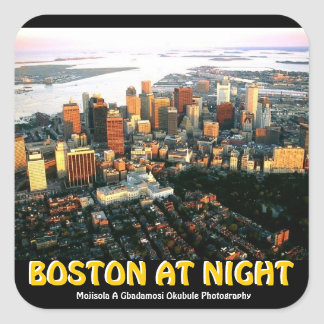Boston @ Nite Sticker By Mojisola A Gbadamosi Okub