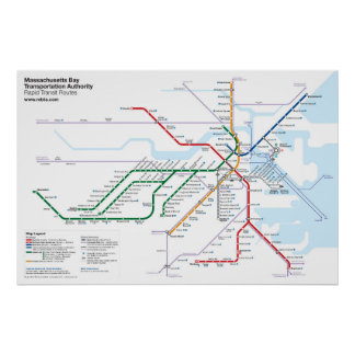 Boston Rapid Transit Routes - No Bus Routes Poster
