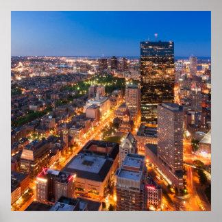 Boston s skyline at dusk posters