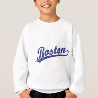 Boston script logo in blue sweatshirt