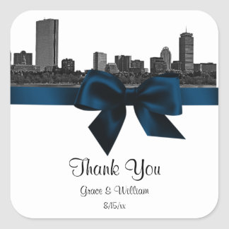 Boston Skyline Etched BW Navy Blue Favor Tag