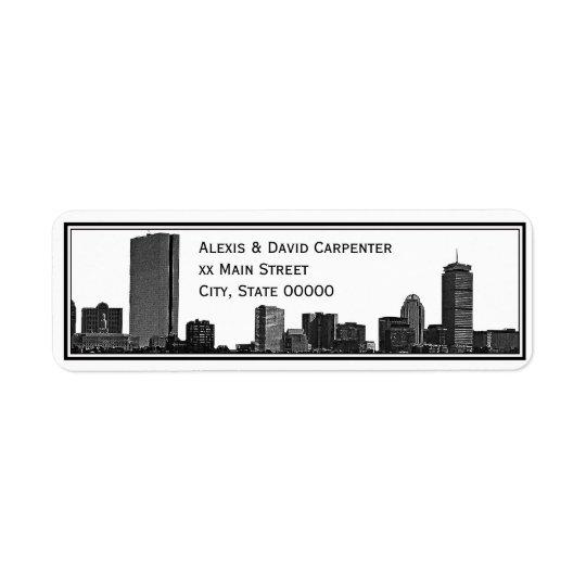 Boston Skyline Etched Framed H Return Address Return Address Label