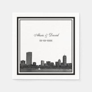 Boston Skyline Etched Framed L Wedding Napkin