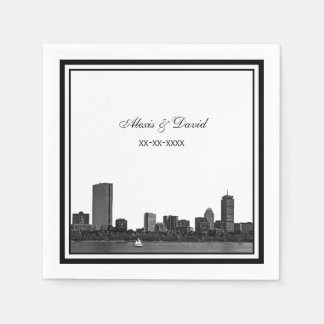 Boston Skyline Etched Framed L Wedding Paper Napkins
