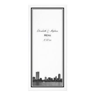 Boston Skyline Etched Framed Menu Card Rack Card