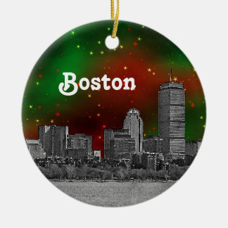 Boston Skyline Etched Green Red Starry Sky Xmas Round Ceramic Ornament