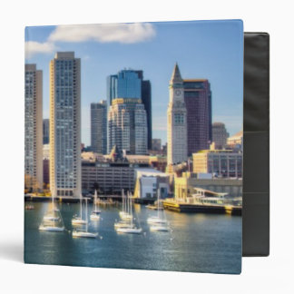 Boston skyline from waterfront 3 ring binder