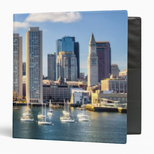 Boston skyline from waterfront 3 ring binder