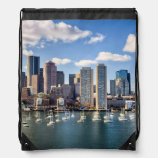 Boston skyline from waterfront drawstring bags