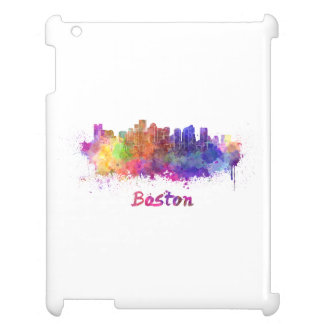 Boston skyline in watercolor cover for the iPad