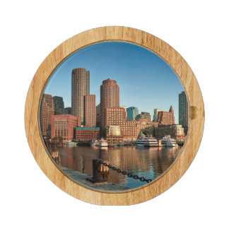 Boston skyline rectangular cheese board