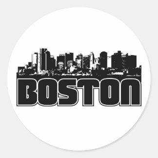 Boston Skyline Round Sticker