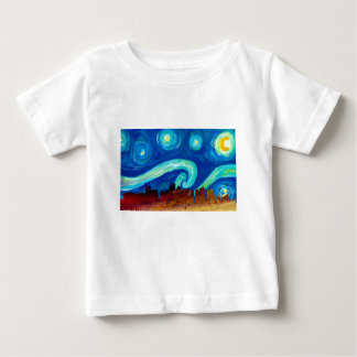 Boston Skyline Silhouette with Starry Night Baby T-Shirt