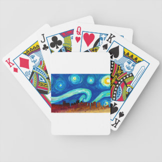 Boston Skyline Silhouette with Starry Night Bicycle Playing Cards