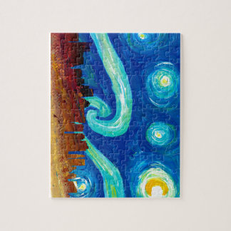 Boston Skyline Silhouette with Starry Night Jigsaw Puzzle