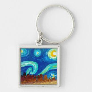 Boston Skyline Silhouette with Starry Night Keychain