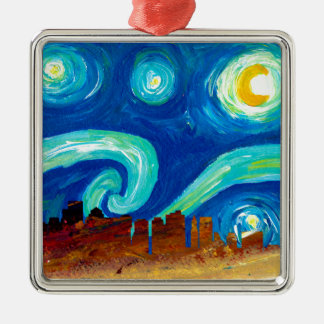 Boston Skyline Silhouette with Starry Night Metal Ornament