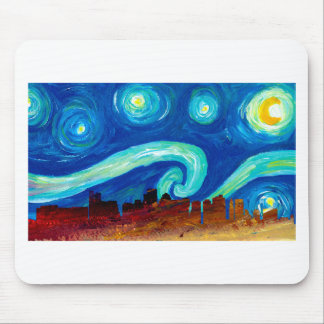Boston Skyline Silhouette with Starry Night Mouse Pad