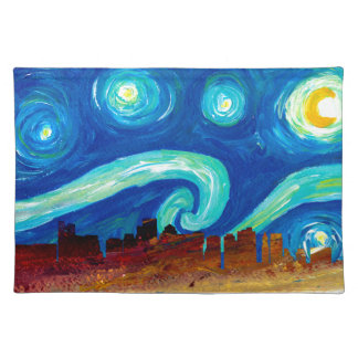 Boston Skyline Silhouette with Starry Night Placemat