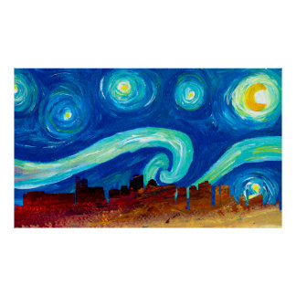 Boston Skyline Silhouette with Starry Night Poster
