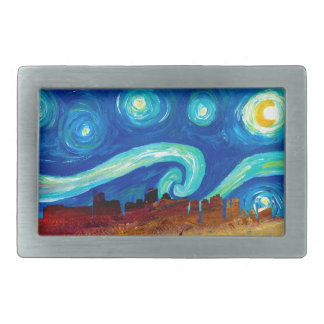 Boston Skyline Silhouette with Starry Night Rectangular Belt Buckle