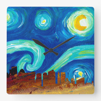 Boston Skyline Silhouette with Starry Night Square Wall Clock