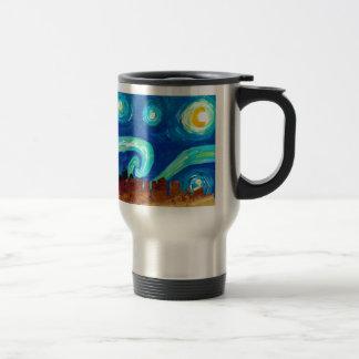 Boston Skyline Silhouette with Starry Night Travel Mug