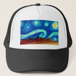 Boston Skyline Silhouette with Starry Night Trucker Hat