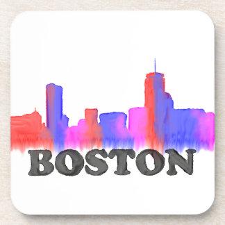 Boston Skyline watercolor Drink Coaster