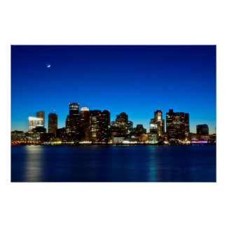 Boston skyline with moon perfect poster