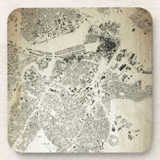 Boston Streets and Buildings Map Antic Vintage Coaster
