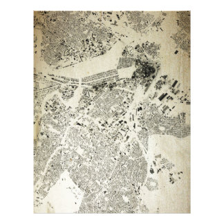 Boston Streets and Buildings Map Antic Vintage Letterhead