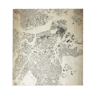 Boston Streets and Buildings Map Antic Vintage Notepad