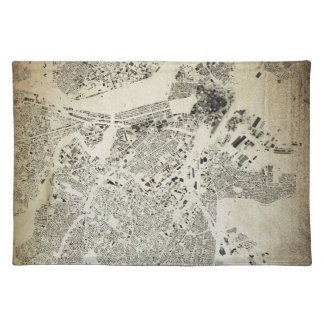 Boston Streets and Buildings Map Antic Vintage Placemat