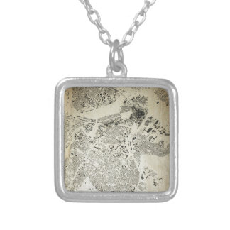 Boston Streets and Buildings Map Antic Vintage Silver Plated Necklace