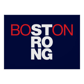 Boston Strong Helvetica Poster on navy blue