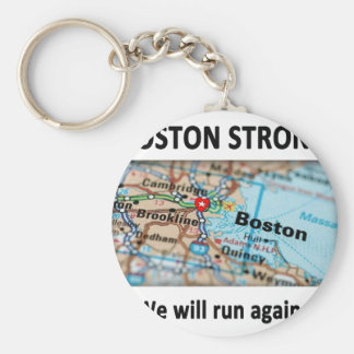Boston Strong Map Basic Round Button Keychain