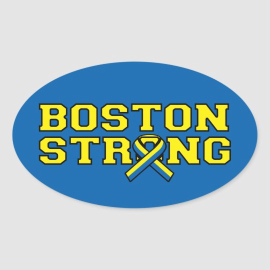 BOSTON STRONG Ribbon graphic Oval Sticker